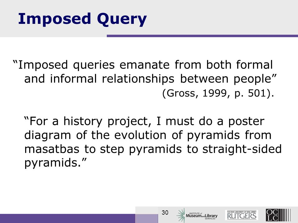 30 Imposed Query Imposed queries emanate from both formal and informal relationships between people (Gross, 1999, p.