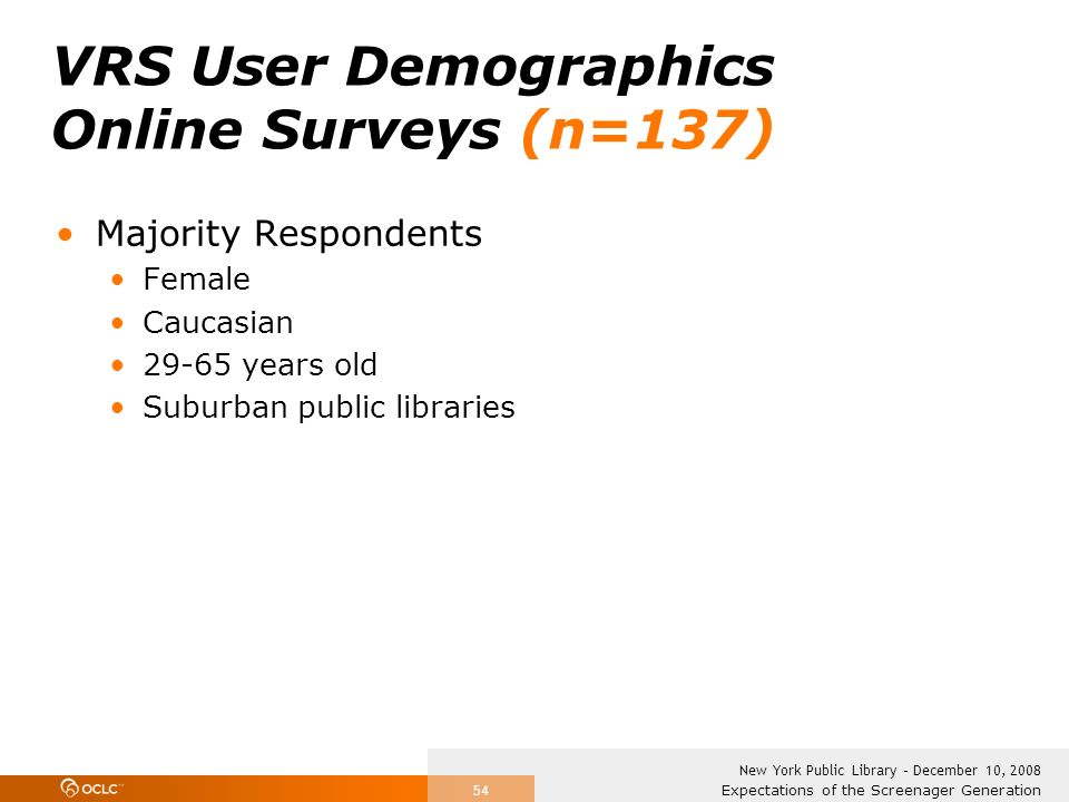 Expectations of the Screenager Generation New York Public Library – December 10, 2008 54 VRS User Demographics Online Surveys (n=137) Majority Respondents Female Caucasian 29-65 years old Suburban public libraries