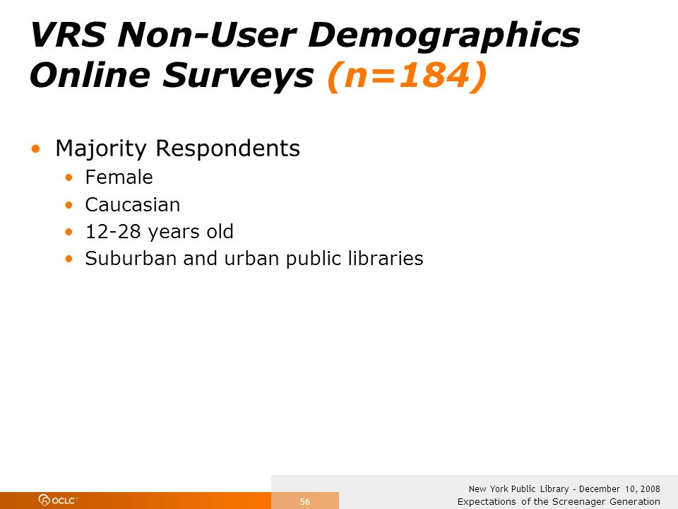 Expectations of the Screenager Generation New York Public Library – December 10, 2008 56 VRS Non-User Demographics Online Surveys (n=184) Majority Res