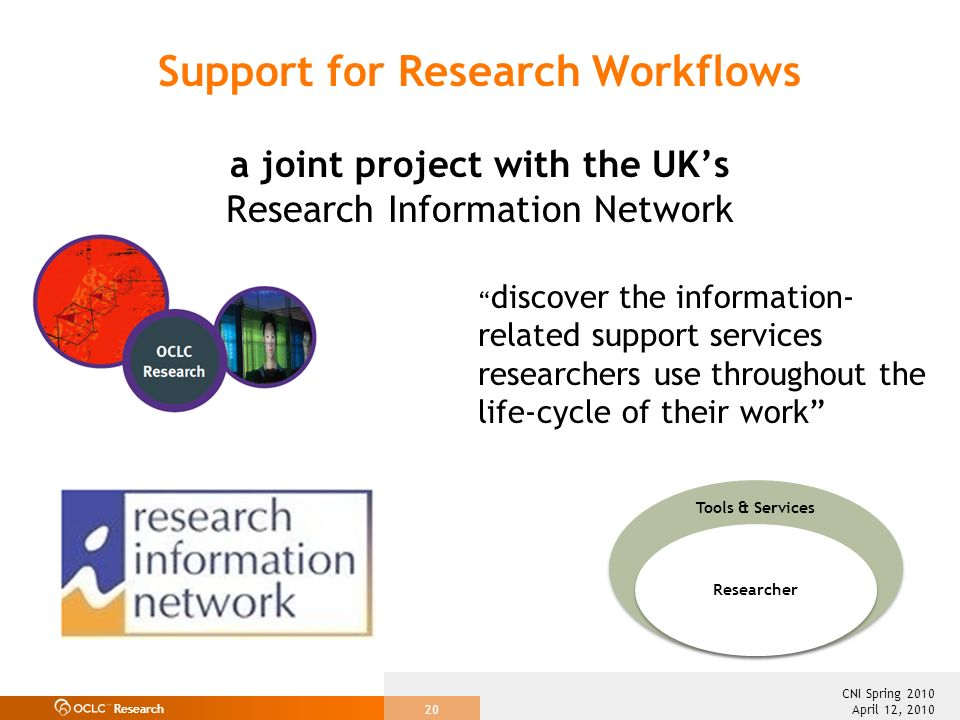 Research April 12, 2010 CNI Spring 2010 20 Support for Research Workflows a joint project with the UKs Research Information Network discover the infor