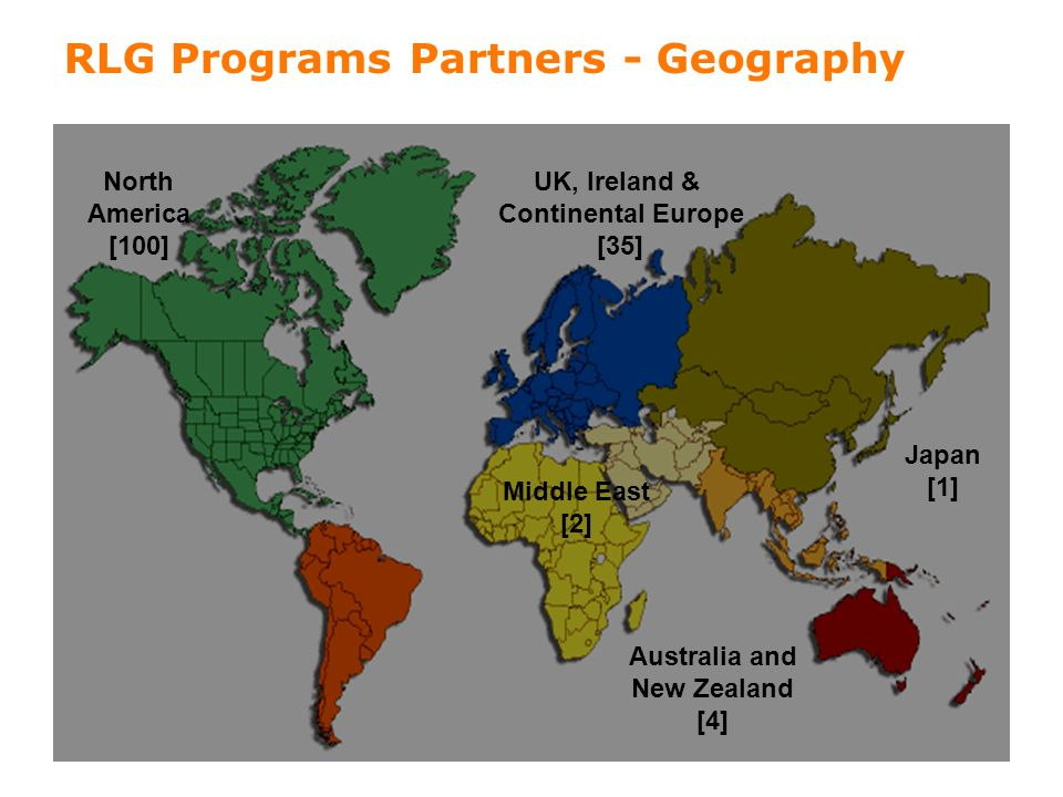 2 RLG Programs Partners - Geography North America [100] UK, Ireland & Continental Europe [35] Middle East [2] Australia and New Zealand [4] Japan [1]