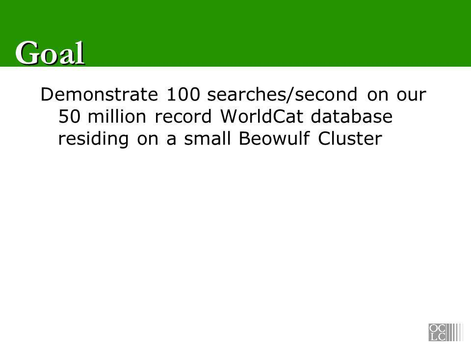 Goal Demonstrate 100 searches/second on our 50 million record WorldCat database residing on a small Beowulf Cluster