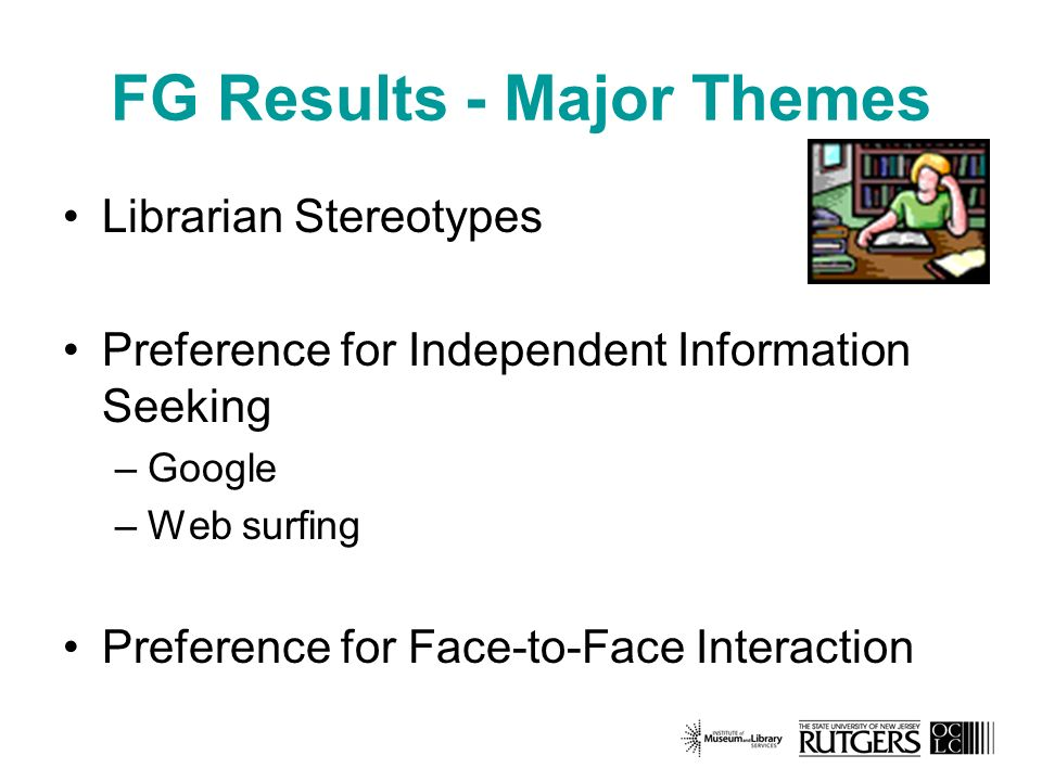 FG Results - Major Themes Librarian Stereotypes Preference for Independent Information Seeking –Google –Web surfing Preference for Face-to-Face Interaction