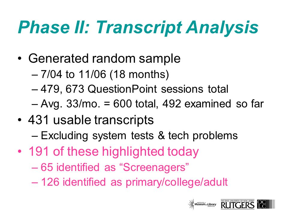 Phase II: Transcript Analysis Generated random sample –7/04 to 11/06 (18 months) –479, 673 QuestionPoint sessions total –Avg.