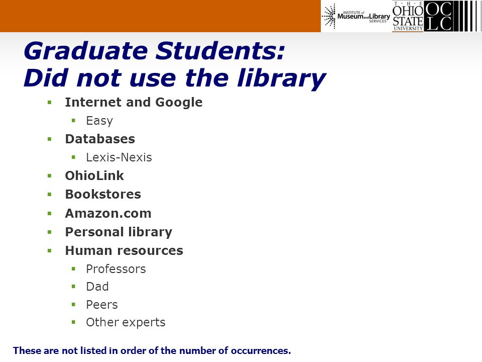 Graduate Students: Did not use the library Internet and Google Easy Databases Lexis-Nexis OhioLink Bookstores Amazon.com Personal library Human resources Professors Dad Peers Other experts These are not listed in order of the number of occurrences.