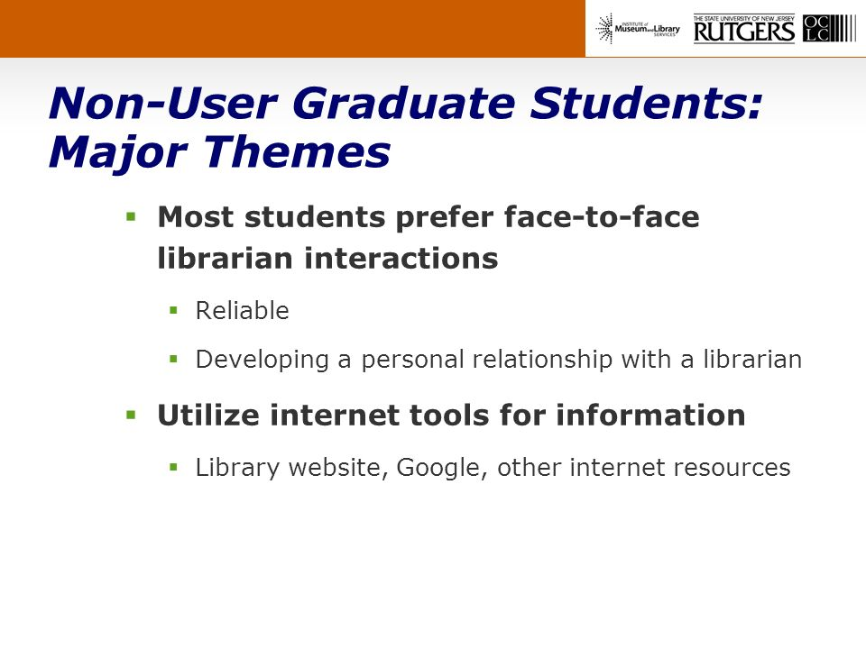 Non-User Graduate Students: Major Themes Most students prefer face-to-face librarian interactions Reliable Developing a personal relationship with a librarian Utilize internet tools for information Library website, Google, other internet resources