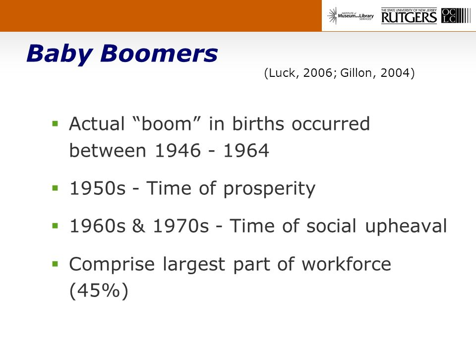 Baby Boomers (Luck, 2006; Gillon, 2004) Actual boom in births occurred between 1946 - 1964 1950s - Time of prosperity 1960s & 1970s - Time of social upheaval Comprise largest part of workforce (45%)