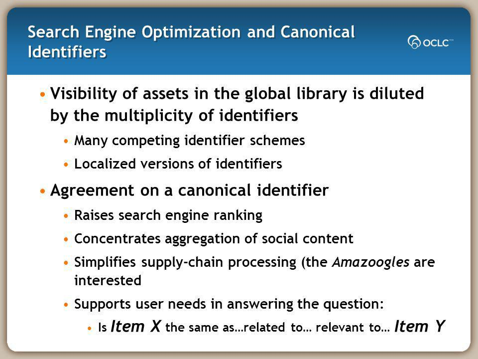 Search Engine Optimization and Canonical Identifiers Visibility of assets in the global library is diluted by the multiplicity of identifiers Many competing identifier schemes Localized versions of identifiers Agreement on a canonical identifier Raises search engine ranking Concentrates aggregation of social content Simplifies supply-chain processing (the Amazoogles are interested Supports user needs in answering the question: Is Item X the same as…related to… relevant to… Item Y