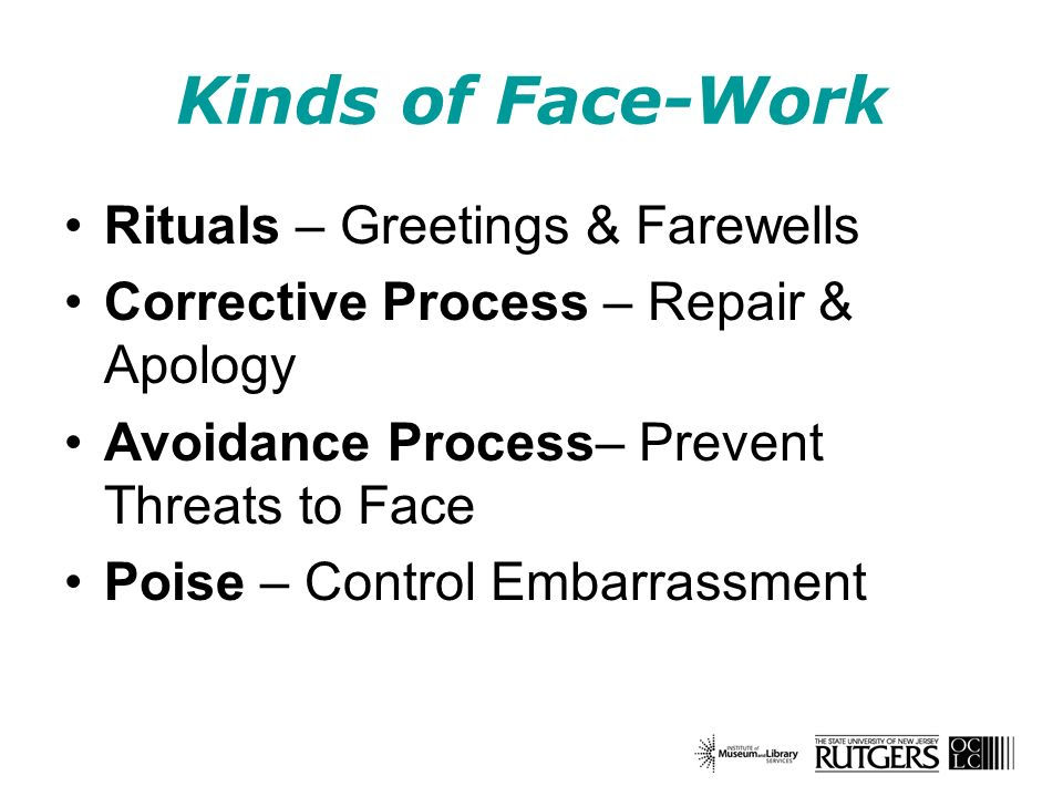 Kinds of Face-Work Rituals – Greetings & Farewells Corrective Process – Repair & Apology Avoidance Process– Prevent Threats to Face Poise – Control Em