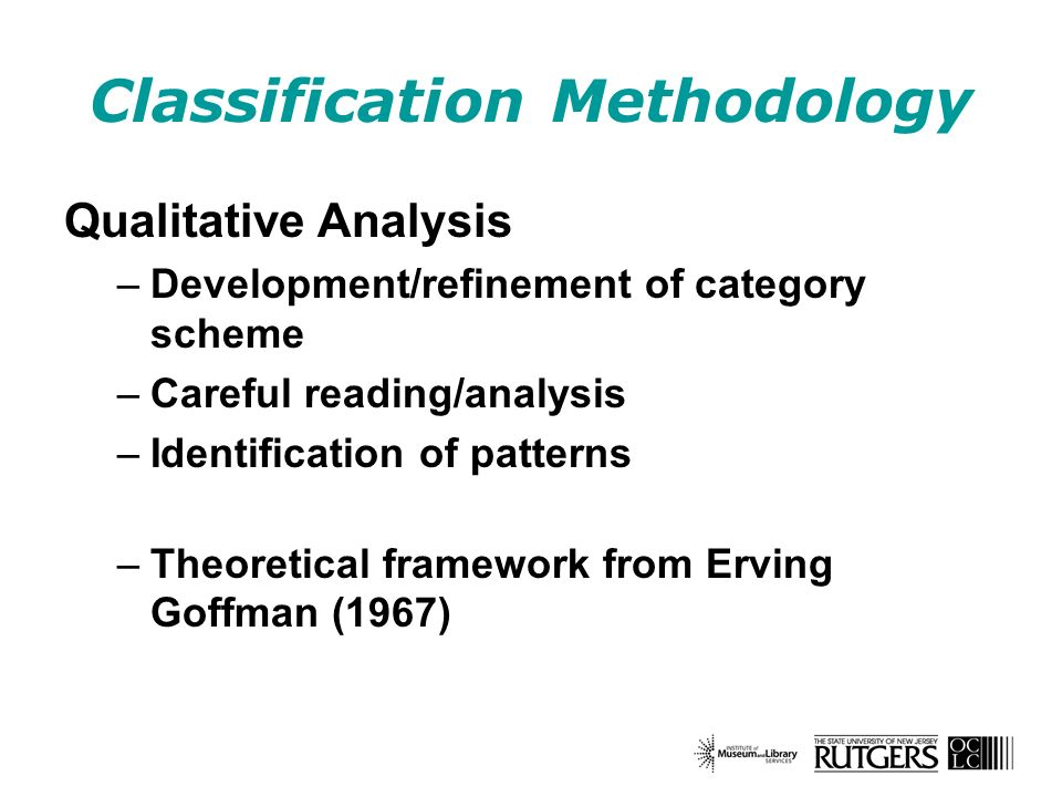 Classification Methodology Qualitative Analysis –Development/refinement of category scheme –Careful reading/analysis –Identification of patterns –Theo