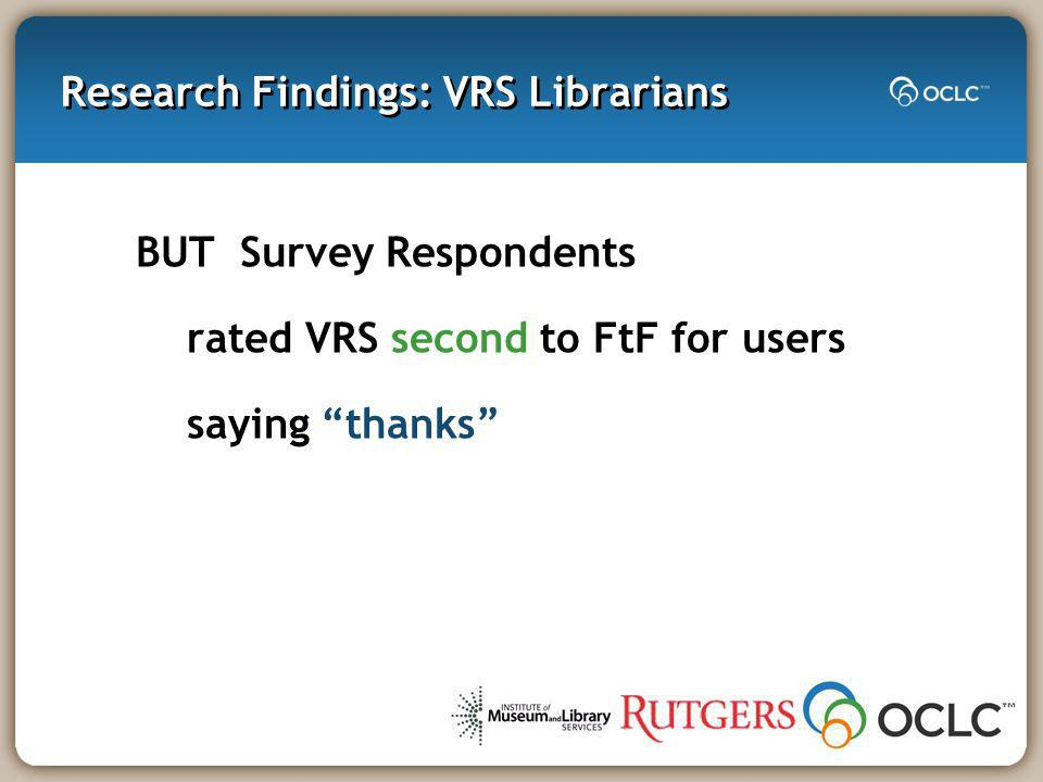 Research Findings: VRS Librarians BUT Survey Respondents rated VRS second to FtF for users saying thanks