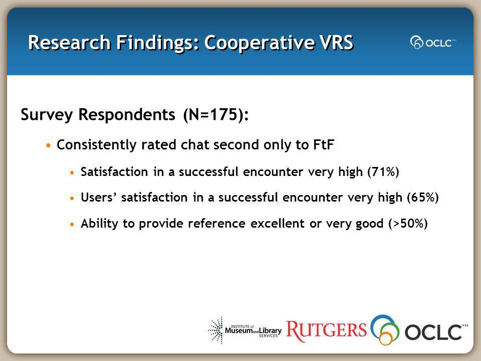 Research Findings: Cooperative VRS Survey Respondents (N=175): Consistently rated chat second only to FtF Satisfaction in a successful encounter very high (71%) Users satisfaction in a successful encounter very high (65%) Ability to provide reference excellent or very good (>50%)