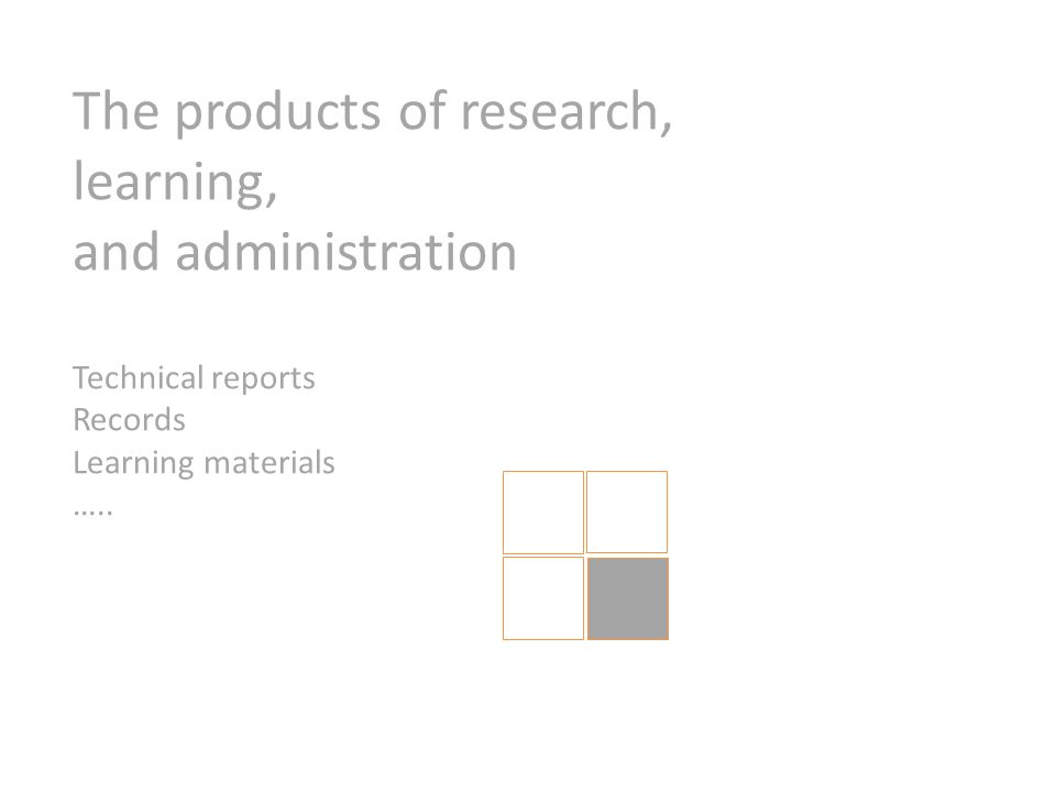 The products of research, learning, and administration Technical reports Records Learning materials …..