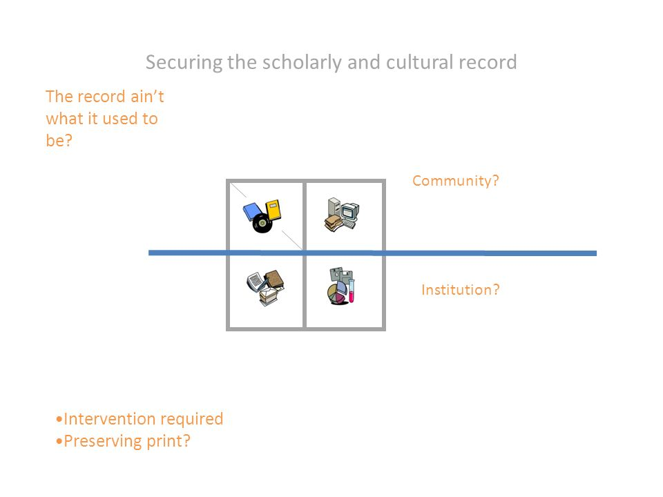 Securing the scholarly and cultural record Community.