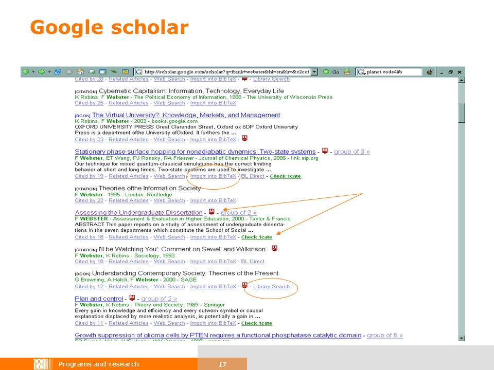 Programs and research 17 Google scholar