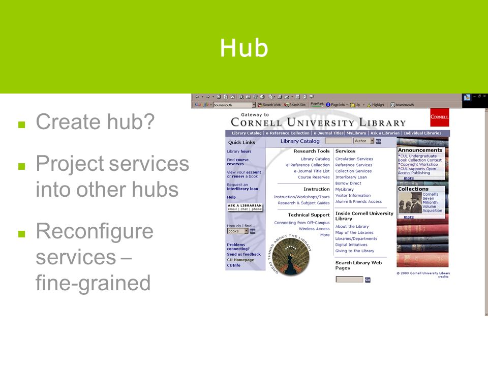 Hub Create hub? Project services into other hubs Reconfigure services – fine-grained