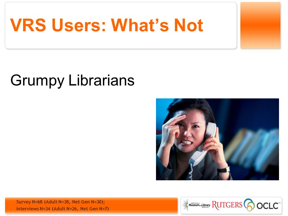 VRS Users: Whats Not Grumpy Librarians Survey N=68 (Adult N=38, Net Gen N=30); Interviews N=34 (Adult N=26, Net Gen N=7)