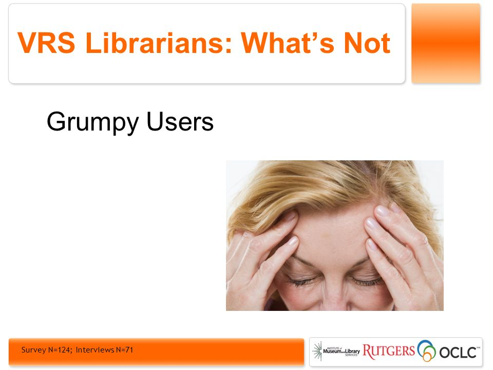 VRS Librarians: Whats Not Grumpy Users Survey N=124; Interviews N=71