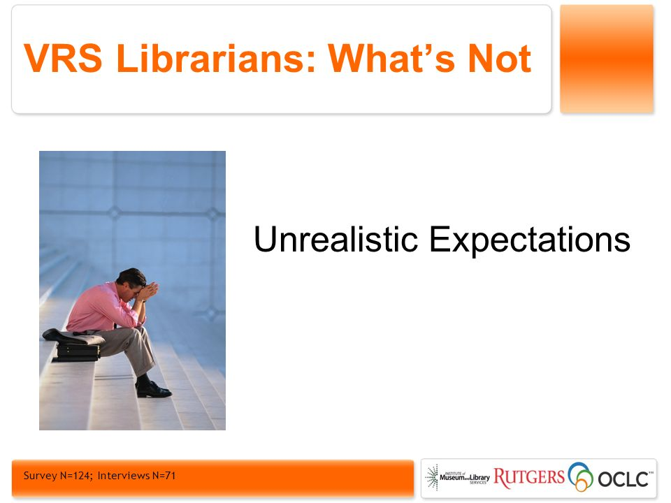 VRS Librarians: Whats Not Unrealistic Expectations Survey N=124; Interviews N=71
