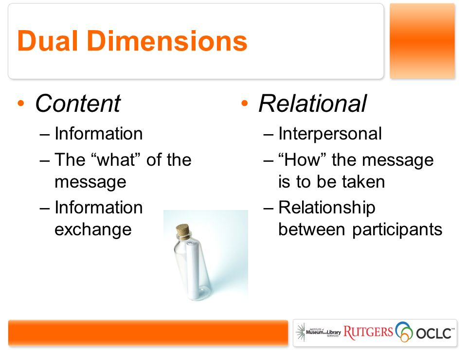 Dual Dimensions Content –Information –The what of the message –Information exchange Relational –Interpersonal –How the message is to be taken –Relationship between participants
