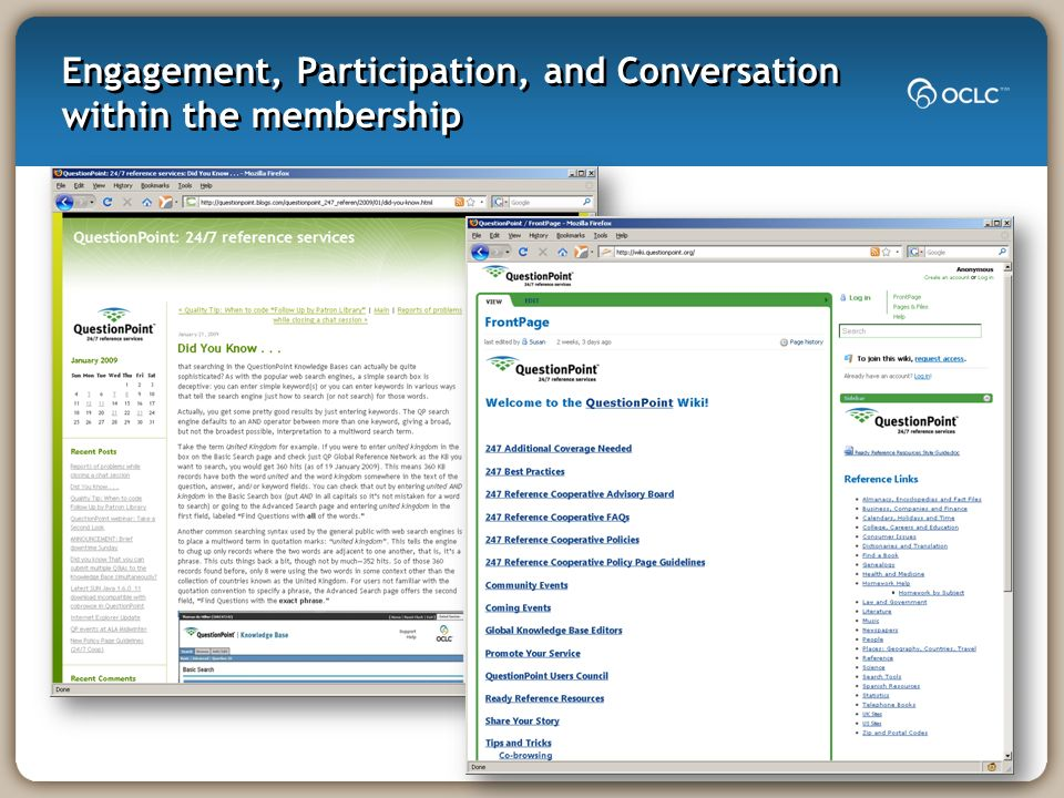 Engagement, Participation, and Conversation within the membership
