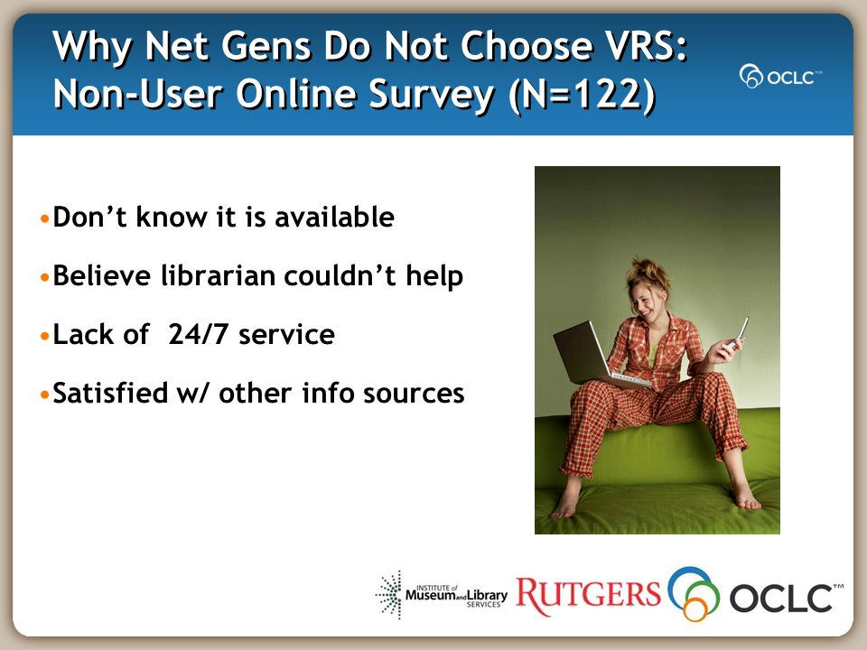 Why Net Gens Do Not Choose VRS: Non-User Online Survey (N=122) Dont know it is available Believe librarian couldnt help Lack of 24/7 service Satisfied w/ other info sources
