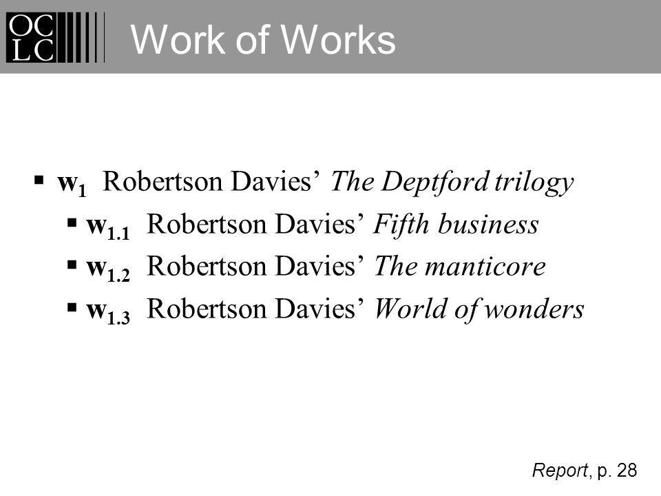 w 1 Robertson Davies The Deptford trilogy w 1.1 Robertson Davies Fifth business w 1.2 Robertson Davies The manticore w 1.3 Robertson Davies World of wonders Work of Works Report, p.