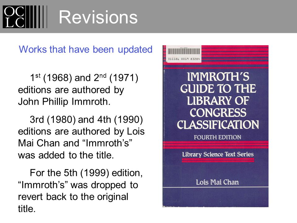 Revisions 1 st (1968) and 2 nd (1971) editions are authored by John Phillip Immroth.