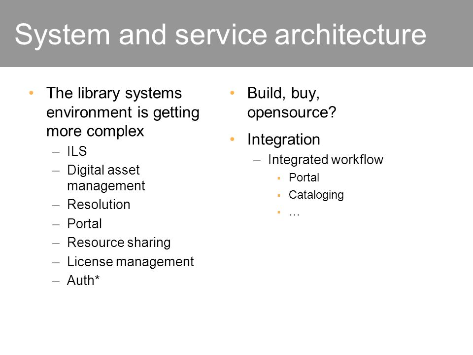 System and service architecture The library systems environment is getting more complex –ILS –Digital asset management –Resolution –Portal –Resource s