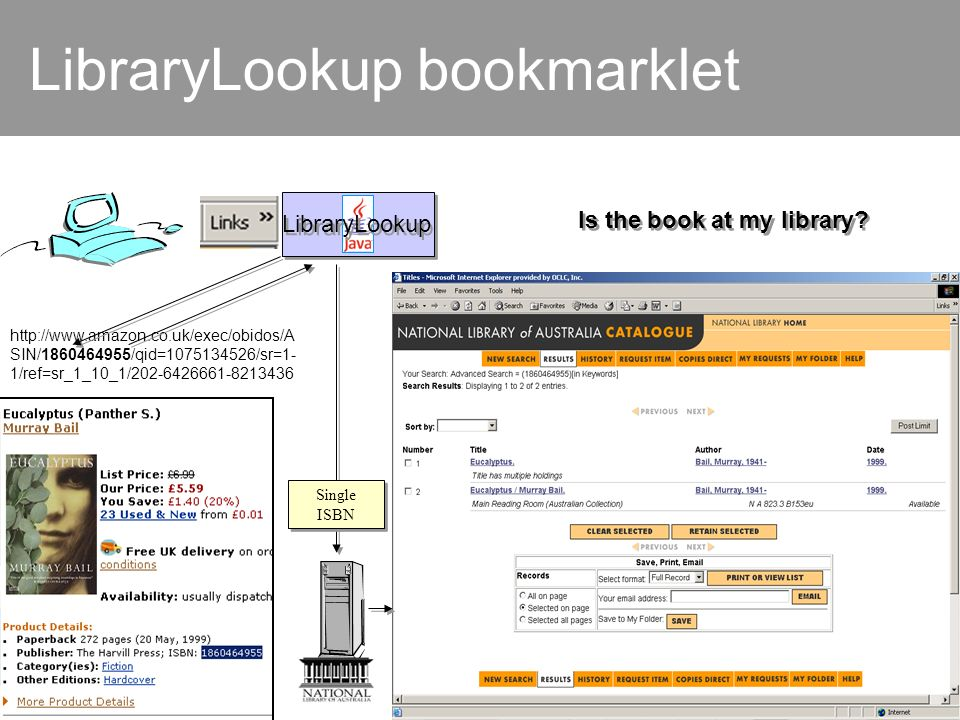 LibraryLookup bookmarklet LibraryLookup http://www.amazon.co.uk/exec/obidos/A SIN/1860464955/qid=1075134526/sr=1- 1/ref=sr_1_10_1/202-6426661-8213436 Is the book at my library.