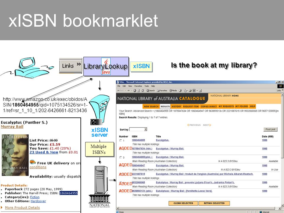 xISBN bookmarklet http://www.amazon.co.uk/exec/obidos/A SIN/1860464955/qid=1075134526/sr=1- 1/ref=sr_1_10_1/202-6426661-8213436 xISBN server LibraryLookup xISBN Multiple ISBNs ADDED Is the book at my library?