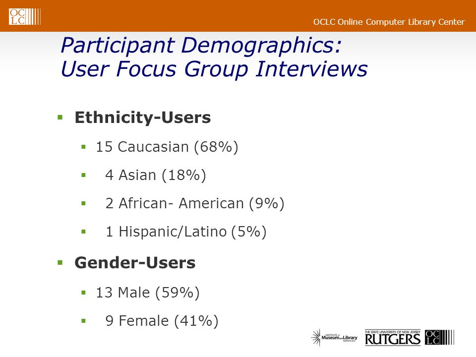 OCLC Online Computer Library Center Participant Demographics: User Focus Group Interviews Ethnicity-Users 15 Caucasian (68%) 4 Asian (18%) 2 African- American (9%) 1 Hispanic/Latino (5%) Gender-Users 13 Male (59%) 9 Female (41%)