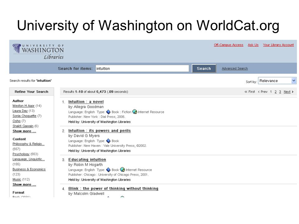 University of Washington on WorldCat.org