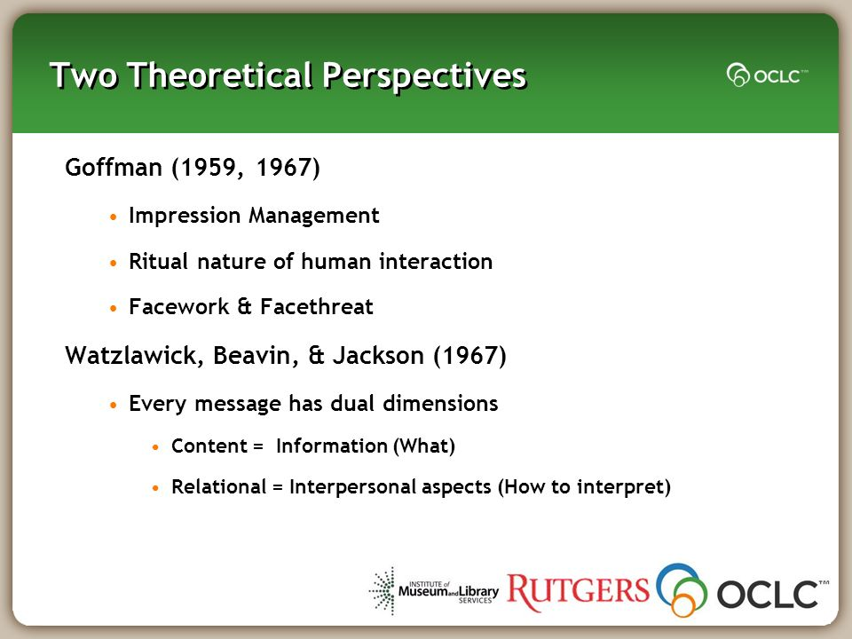 Two Theoretical Perspectives Goffman (1959, 1967) Impression Management Ritual nature of human interaction Facework & Facethreat Watzlawick, Beavin, &