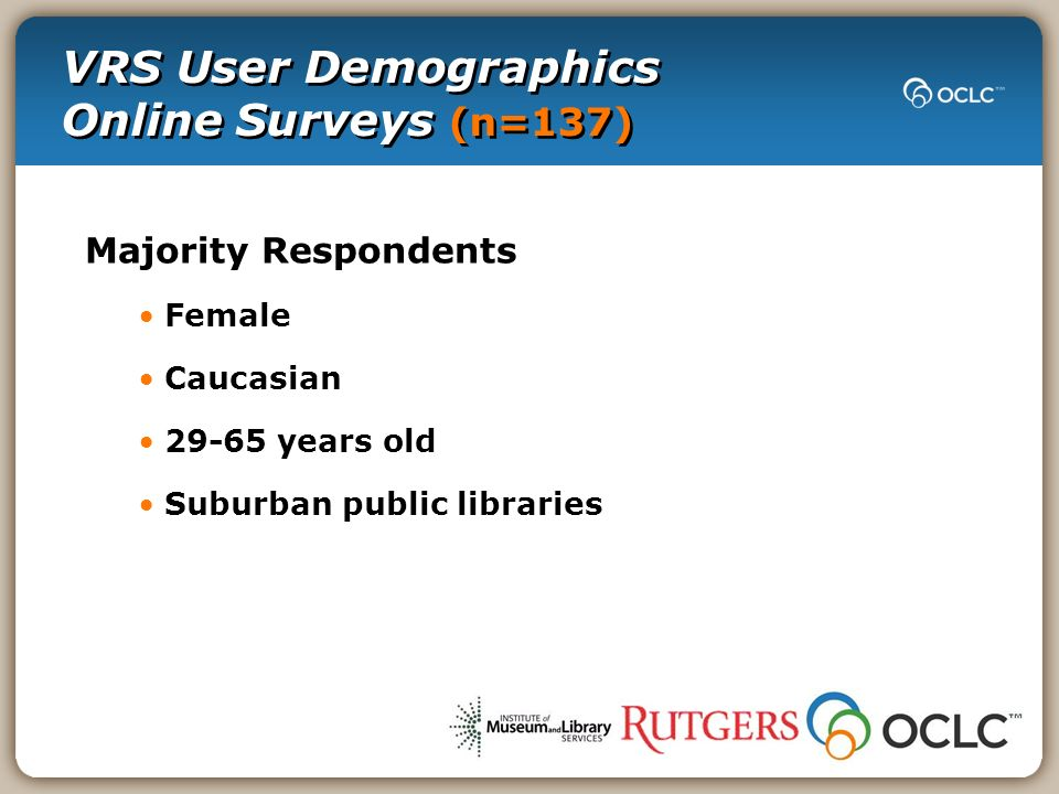VRS User Demographics Online Surveys (n=137) Majority Respondents Female Caucasian 29-65 years old Suburban public libraries