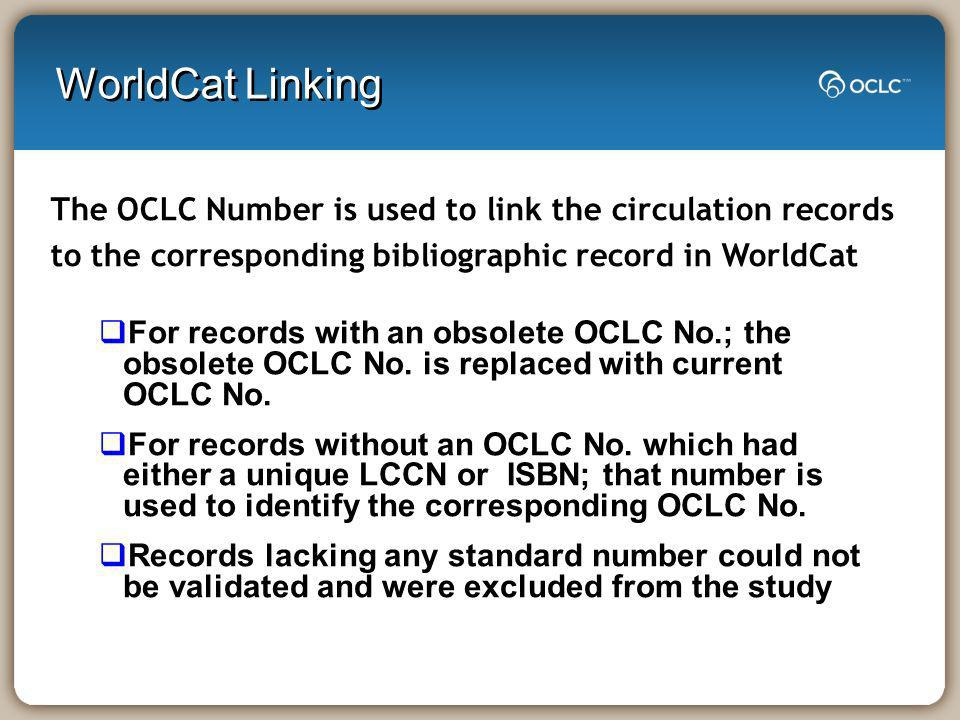 WorldCat Linking For records with an obsolete OCLC No.; the obsolete OCLC No. is replaced with current OCLC No. For records without an OCLC No. which