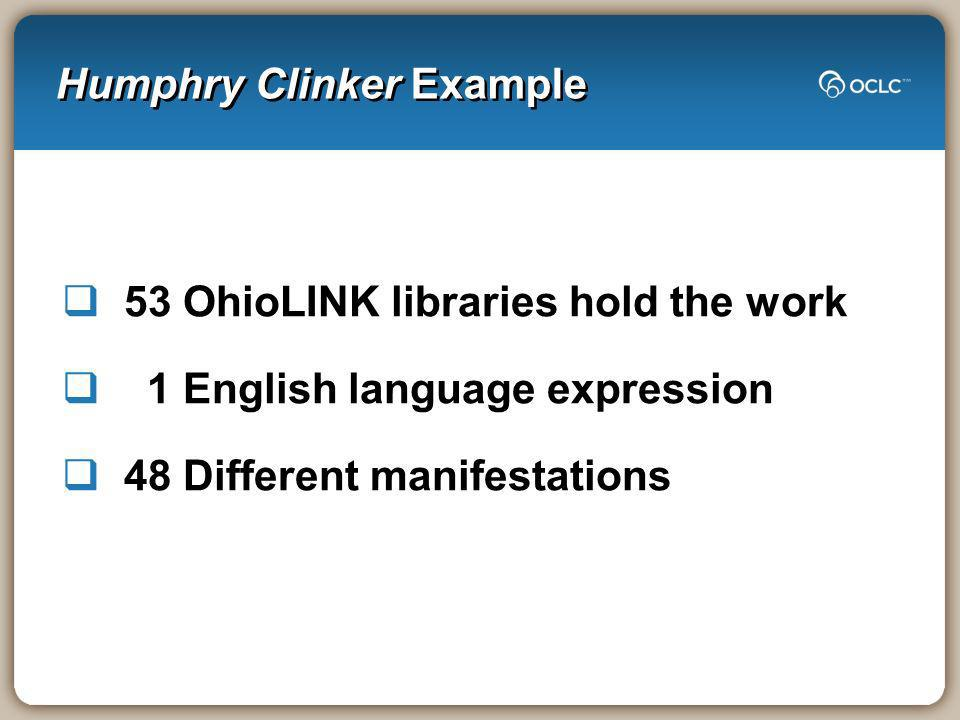 Humphry Clinker Example 53 OhioLINK libraries hold the work 1 English language expression 48 Different manifestations