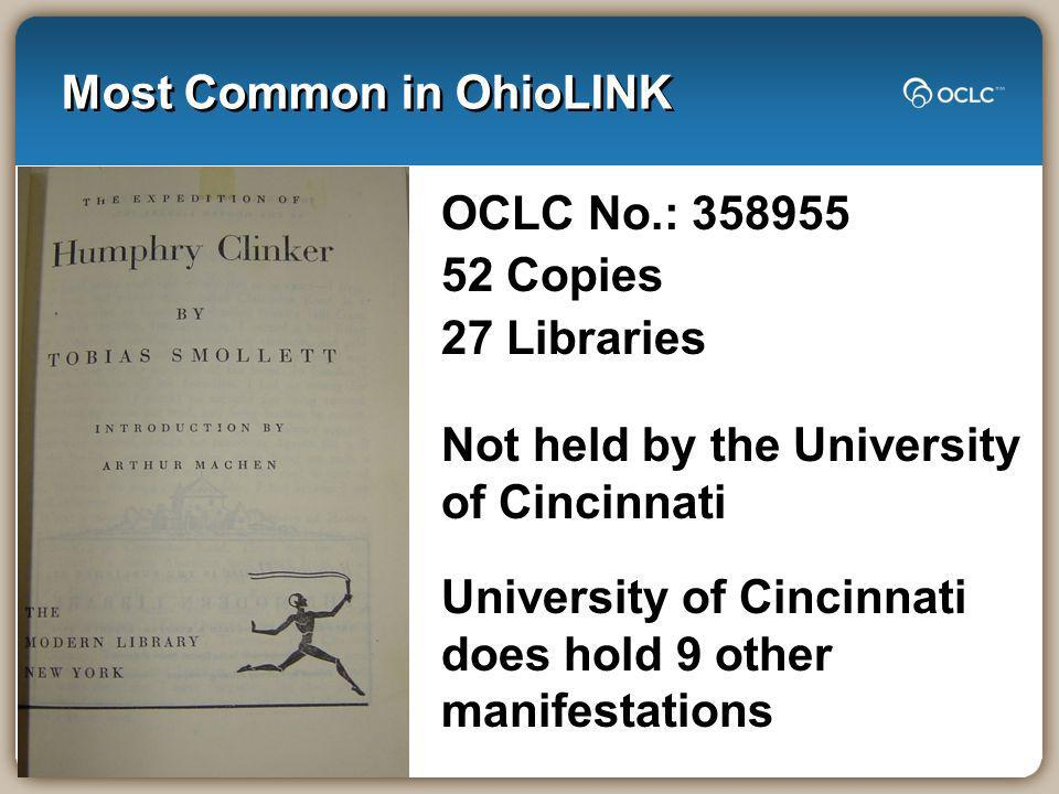 Most Common in OhioLINK OCLC No.: 358955 52 Copies 27 Libraries Not held by the University of Cincinnati University of Cincinnati does hold 9 other ma