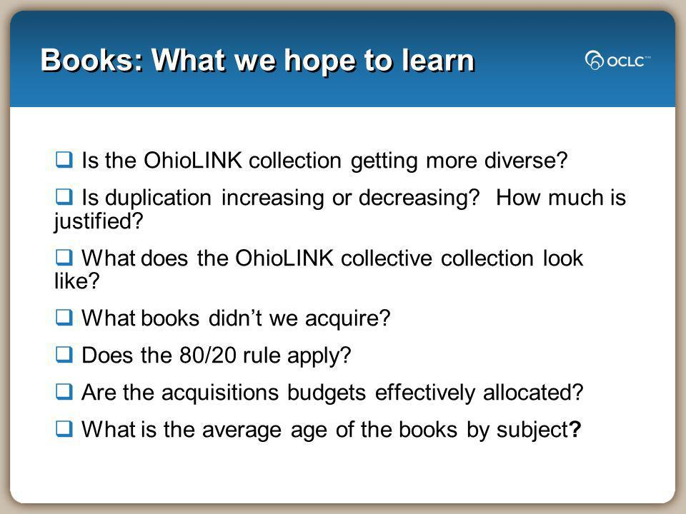 Books: What we hope to learn Is the OhioLINK collection getting more diverse? Is duplication increasing or decreasing? How much is justified? What doe
