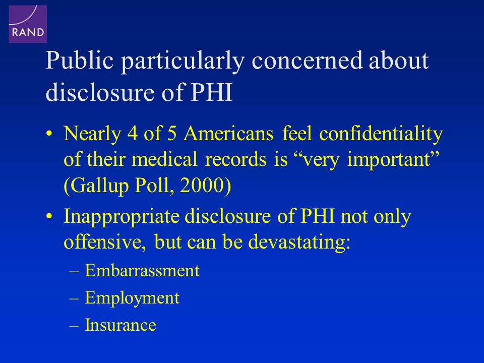 Public particularly concerned about disclosure of PHI Nearly 4 of 5 Americans feel confidentiality of their medical records is very important (Gallup Poll, 2000) Inappropriate disclosure of PHI not only offensive, but can be devastating: –Embarrassment –Employment –Insurance