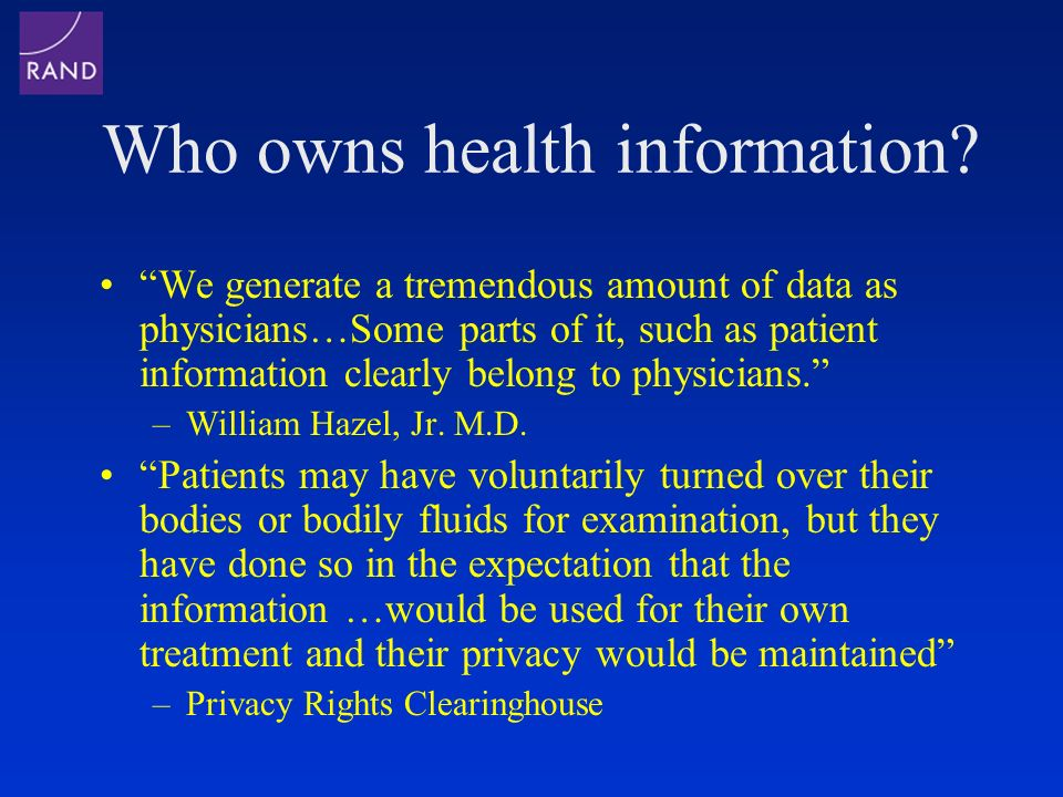 Who owns health information.