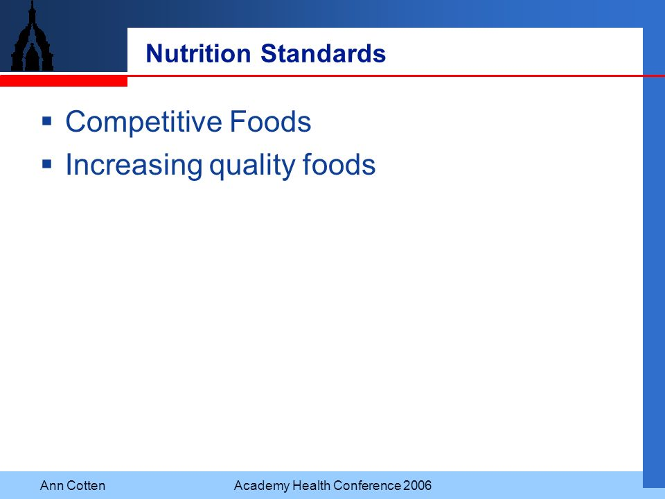 Ann CottenAcademy Health Conference 2006 Nutrition Standards Competitive Foods Increasing quality foods