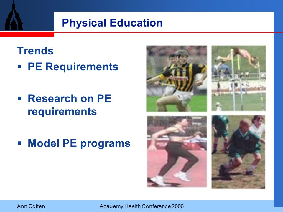 Ann CottenAcademy Health Conference 2006 Physical Education Trends PE Requirements Research on PE requirements Model PE programs