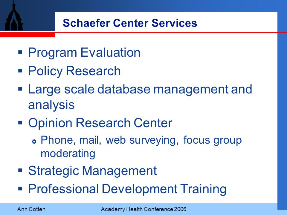 Ann CottenAcademy Health Conference 2006 Schaefer Center Services Program Evaluation Policy Research Large scale database management and analysis Opin