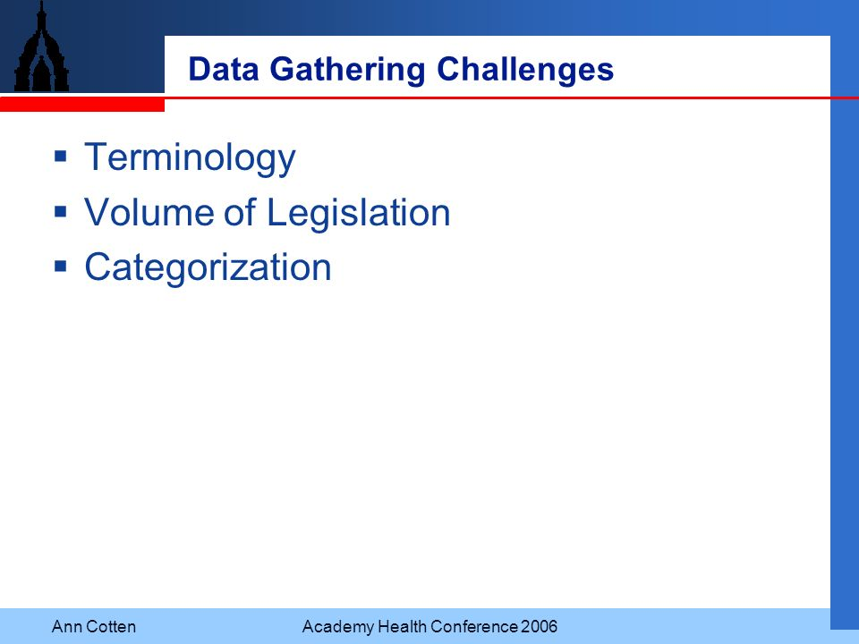 Ann CottenAcademy Health Conference 2006 Data Gathering Challenges Terminology Volume of Legislation Categorization