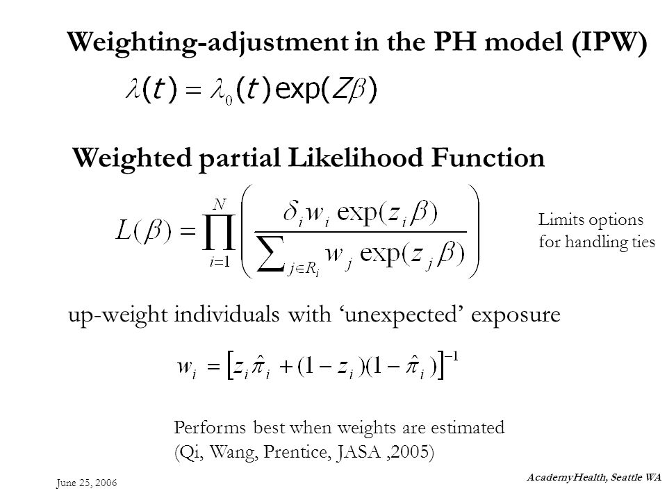 June 25, 2006 AcademyHealth, Seattle WA Weighting-adjustment in the PH model (IPW) Weighted partial Likelihood Function up-weight individuals with unexpected exposure Limits options for handling ties Performs best when weights are estimated (Qi, Wang, Prentice, JASA,2005)
