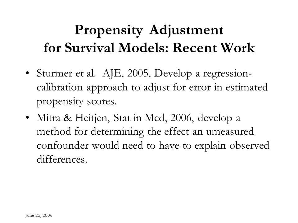June 25, 2006 Propensity Adjustment for Survival Models: Recent Work Sturmer et al.