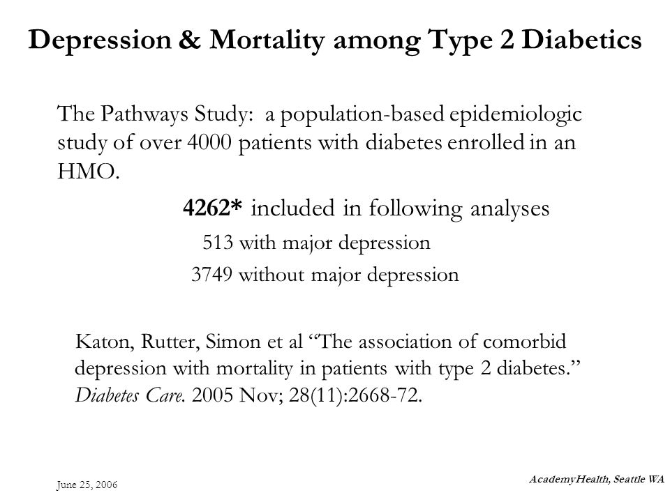 June 25, 2006 The Pathways Study: a population-based epidemiologic study of over 4000 patients with diabetes enrolled in an HMO.