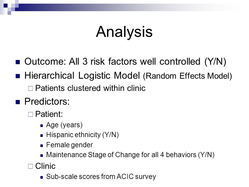 Analysis Outcome: All 3 risk factors well controlled (Y/N) Hierarchical Logistic Model (Random Effects Model) Patients clustered within clinic Predict