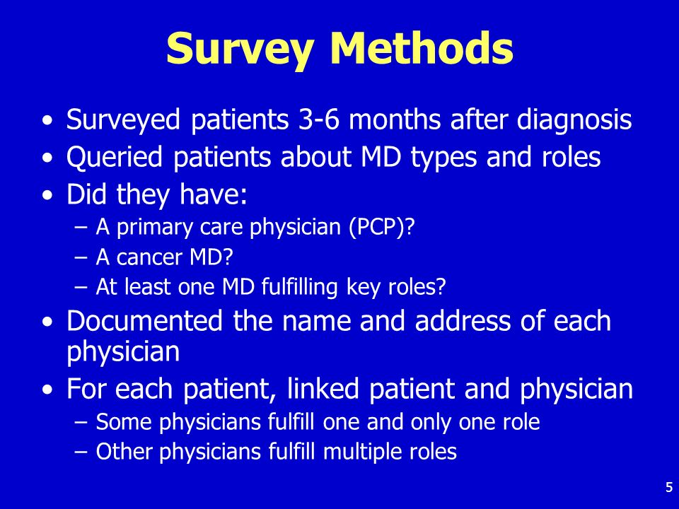 5 Survey Methods Surveyed patients 3-6 months after diagnosis Queried patients about MD types and roles Did they have: –A primary care physician (PCP)